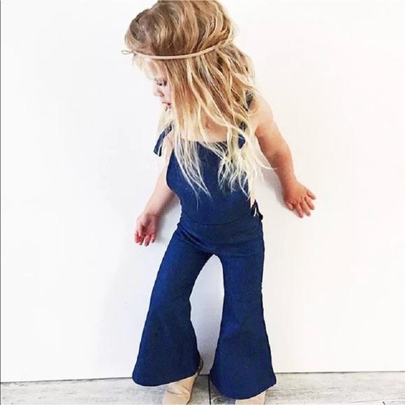 912415633b9 Hippie denim bell bottom flare overalls kids girls